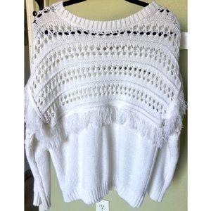 J.O.A white fringe open knit sweater